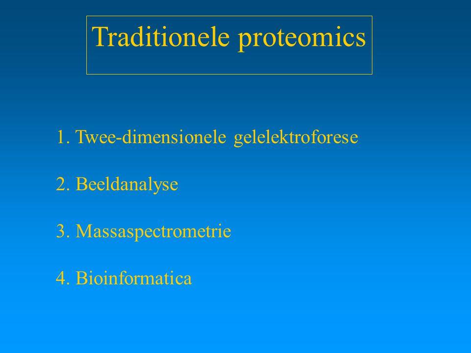 Traditionele proteomics 1. Twee-dimensionele gelelektroforese 2. Beeldanalyse 3. Massaspectrometrie 4. Bioinformatica