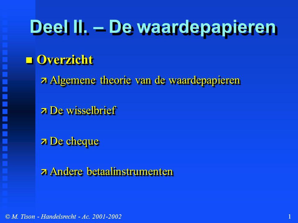 © M. Tison- Handelsrecht - Ac. 2001-20021 Overzicht Overzicht  Algemene theorie van de waardepapieren  De wisselbrief  De cheque  Andere betaalins