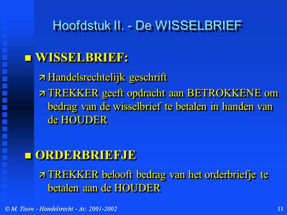© M. Tison- Handelsrecht - Ac. 2001-200211 Hoofdstuk II. - De WISSELBRIEF WISSELBRIEF: WISSELBRIEF:  Handelsrechtelijk geschrift  TREKKER geeft opdr