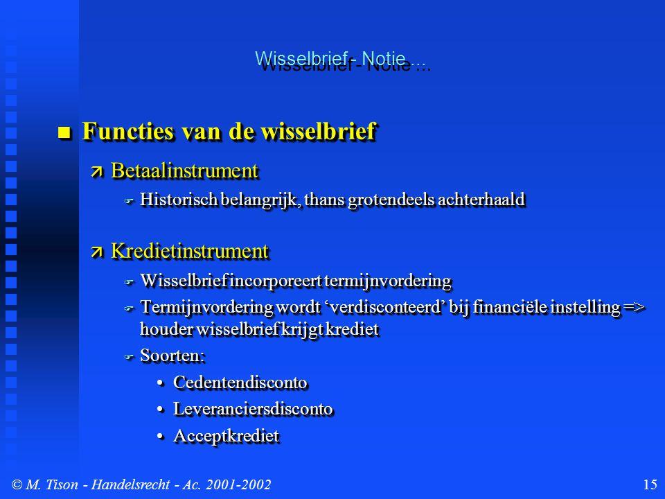 © M. Tison- Handelsrecht - Ac. 2001-200215 Wisselbrief - Notie... Functies van de wisselbrief Functies van de wisselbrief  Betaalinstrument  Histori