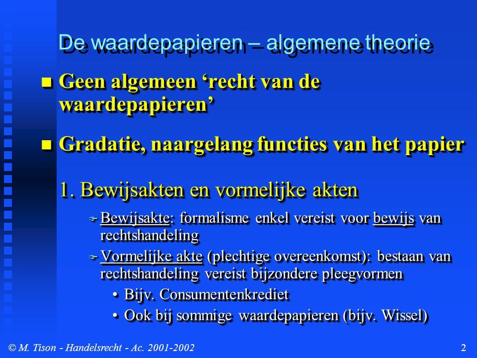 © M. Tison- Handelsrecht - Ac. 2001-20022 De waardepapieren – algemene theorie Geen algemeen 'recht van de waardepapieren' Geen algemeen 'recht van de