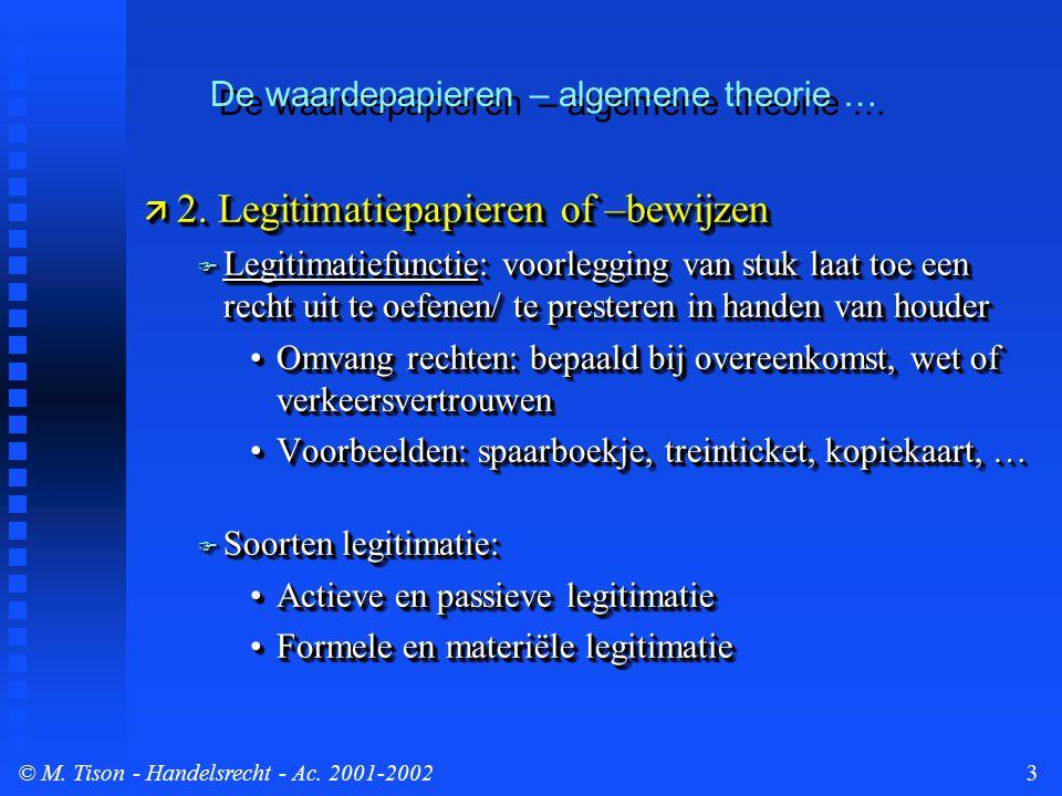 © M. Tison- Handelsrecht - Ac. 2001-20023 De waardepapieren – algemene theorie …  2. Legitimatiepapieren of –bewijzen  Legitimatiefunctie: voorleggi