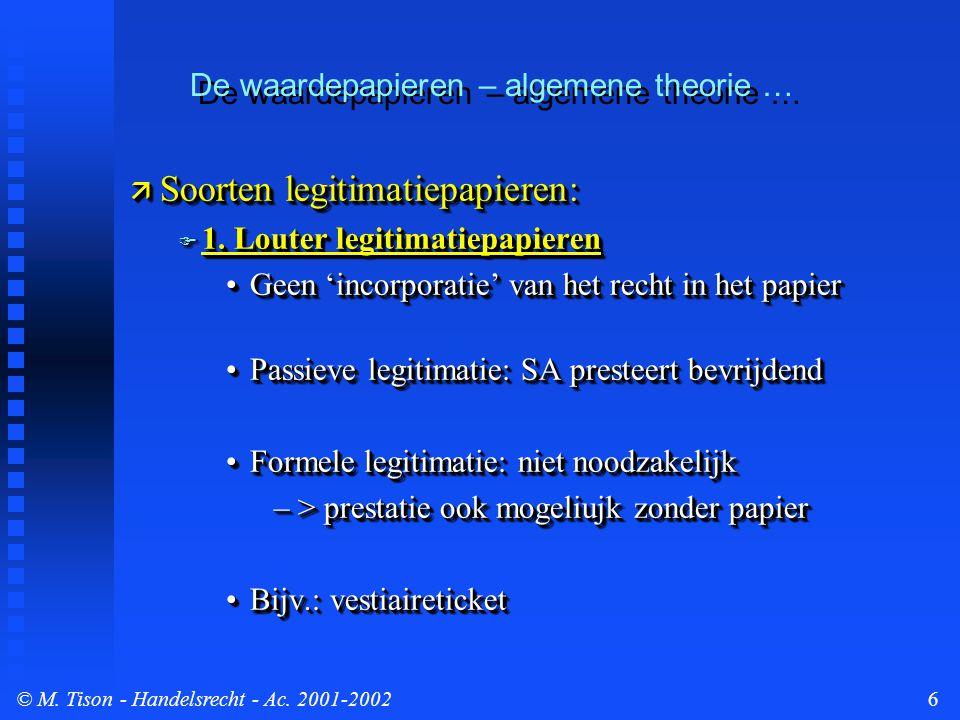 © M. Tison- Handelsrecht - Ac. 2001-20026 De waardepapieren – algemene theorie …  Soorten legitimatiepapieren:  1. Louter legitimatiepapieren Geen '