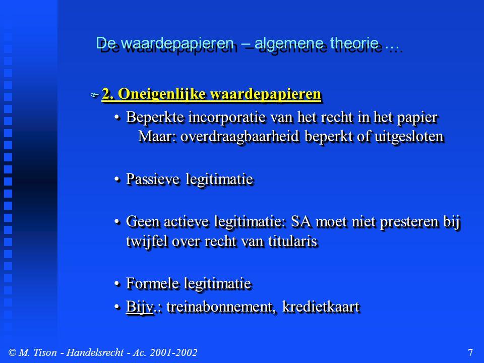 © M. Tison- Handelsrecht - Ac. 2001-20027 De waardepapieren – algemene theorie …  2. Oneigenlijke waardepapieren Beperkte incorporatie van het recht