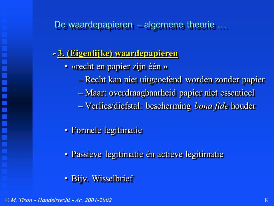 © M. Tison- Handelsrecht - Ac. 2001-20028  3. (Eigenlijke) waardepapieren «recht en papier zijn één »«recht en papier zijn één » –Recht kan niet uitg