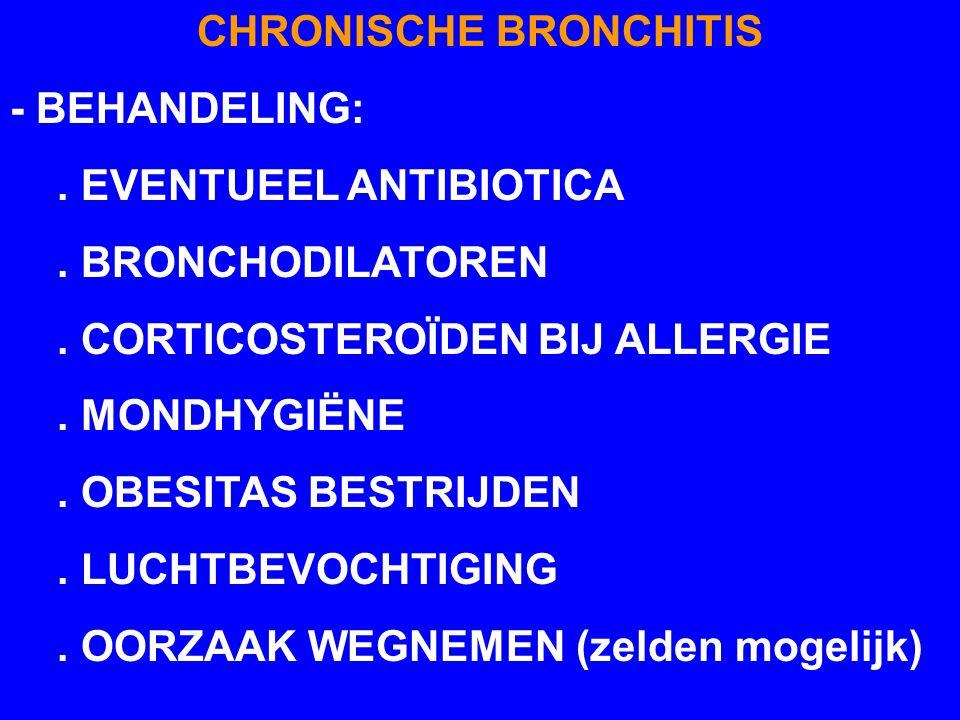 CHRONISCHE BRONCHITIS - BEHANDELING:. EVENTUEEL ANTIBIOTICA. BRONCHODILATOREN. CORTICOSTEROÏDEN BIJ ALLERGIE. MONDHYGIËNE. OBESITAS BESTRIJDEN. LUCHTB