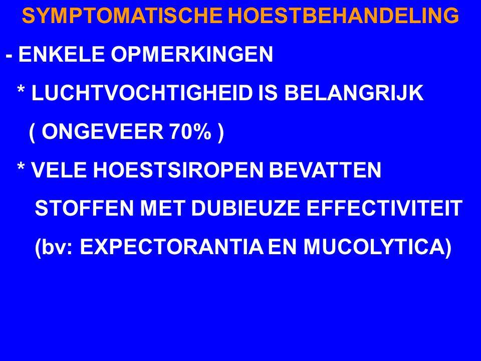 SYMPTOMATISCHE HOESTBEHANDELING - ENKELE OPMERKINGEN * LUCHTVOCHTIGHEID IS BELANGRIJK ( ONGEVEER 70% ) * VELE HOESTSIROPEN BEVATTEN STOFFEN MET DUBIEU