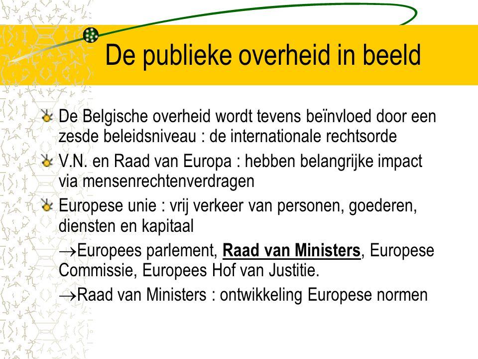 De publieke overheid in beeld De Belgische overheid wordt tevens beïnvloed door een zesde beleidsniveau : de internationale rechtsorde V.N.