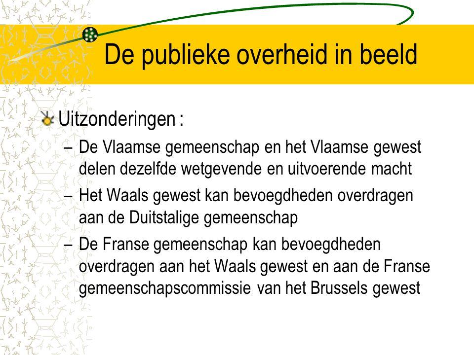 De publieke overheid in beeld Uitzonderingen : –De Vlaamse gemeenschap en het Vlaamse gewest delen dezelfde wetgevende en uitvoerende macht –Het Waals gewest kan bevoegdheden overdragen aan de Duitstalige gemeenschap –De Franse gemeenschap kan bevoegdheden overdragen aan het Waals gewest en aan de Franse gemeenschapscommissie van het Brussels gewest