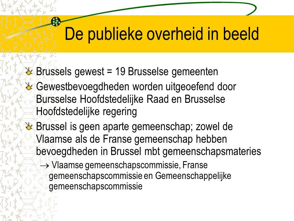 De publieke overheid in beeld Brussels gewest = 19 Brusselse gemeenten Gewestbevoegdheden worden uitgeoefend door Bursselse Hoofdstedelijke Raad en Brusselse Hoofdstedelijke regering Brussel is geen aparte gemeenschap; zowel de Vlaamse als de Franse gemeenschap hebben bevoegdheden in Brussel mbt gemeenschapsmateries  Vlaamse gemeenschapscommissie, Franse gemeenschapscommissie en Gemeenschappelijke gemeenschapscommissie