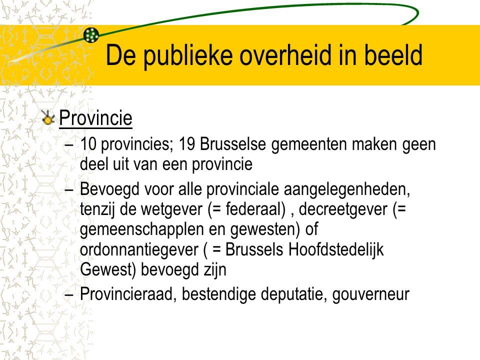 De publieke overheid in beeld Provincie –10 provincies; 19 Brusselse gemeenten maken geen deel uit van een provincie –Bevoegd voor alle provinciale aangelegenheden, tenzij de wetgever (= federaal), decreetgever (= gemeenschapplen en gewesten) of ordonnantiegever ( = Brussels Hoofdstedelijk Gewest) bevoegd zijn –Provincieraad, bestendige deputatie, gouverneur