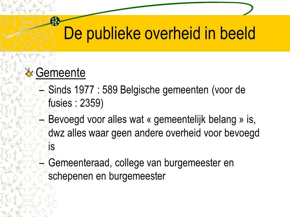 De publieke overheid in beeld Gemeente –Sinds 1977 : 589 Belgische gemeenten (voor de fusies : 2359) –Bevoegd voor alles wat « gemeentelijk belang » is, dwz alles waar geen andere overheid voor bevoegd is –Gemeenteraad, college van burgemeester en schepenen en burgemeester