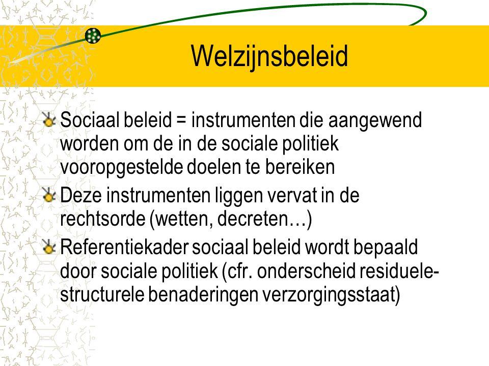 Welzijnsbeleid Sociaal beleid = instrumenten die aangewend worden om de in de sociale politiek vooropgestelde doelen te bereiken Deze instrumenten liggen vervat in de rechtsorde (wetten, decreten…) Referentiekader sociaal beleid wordt bepaald door sociale politiek (cfr.