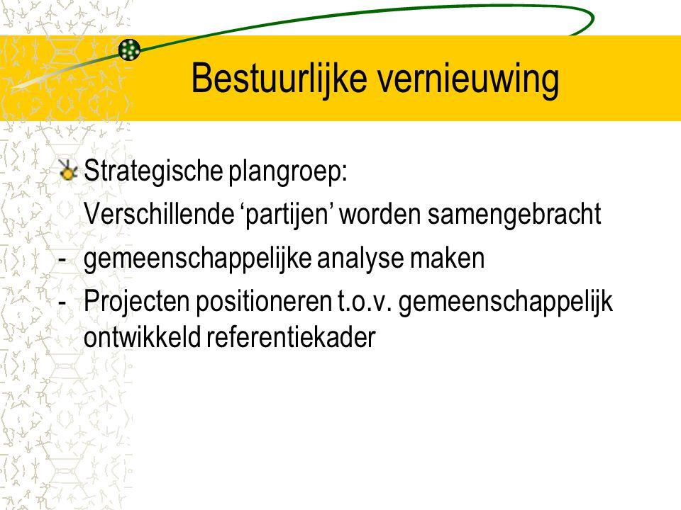 Bestuurlijke vernieuwing Strategische plangroep: Verschillende 'partijen' worden samengebracht -gemeenschappelijke analyse maken -Projecten positioneren t.o.v.