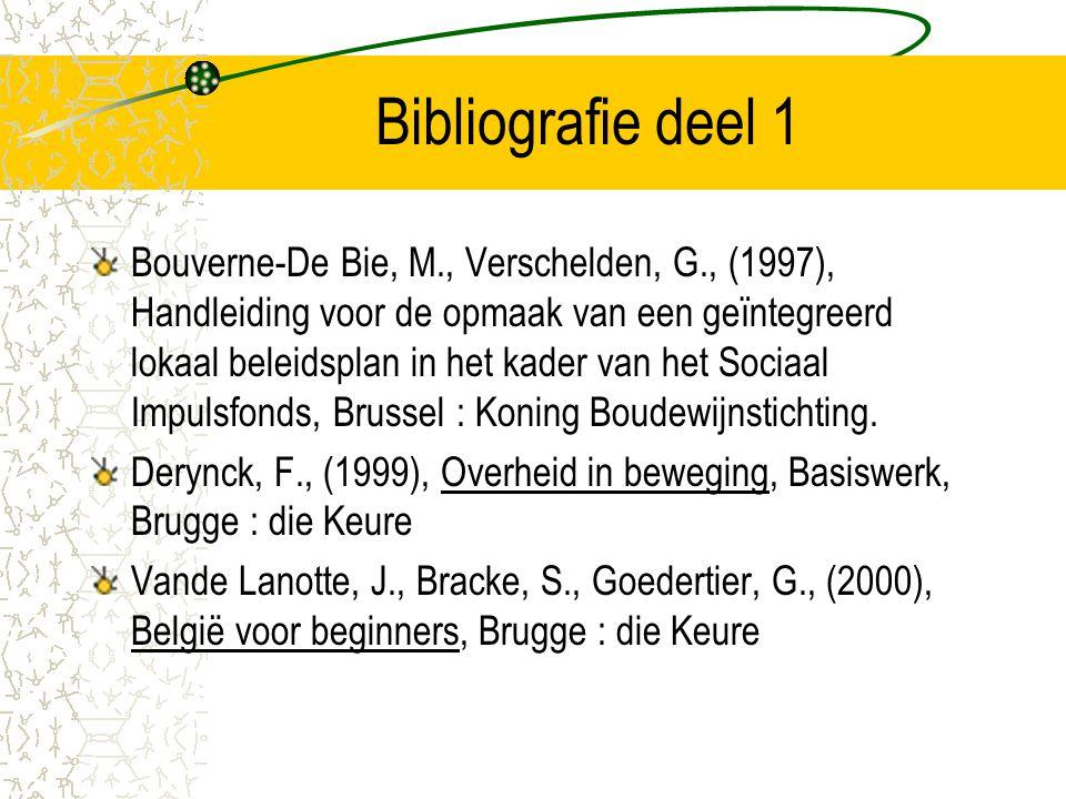 Bibliografie deel 1 Bouverne-De Bie, M., Verschelden, G., (1997), Handleiding voor de opmaak van een geïntegreerd lokaal beleidsplan in het kader van het Sociaal Impulsfonds, Brussel : Koning Boudewijnstichting.