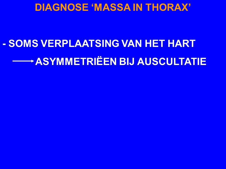 DIAGNOSE 'MASSA IN THORAX' - SOMS VERPLAATSING VAN HET HART ASYMMETRIËEN BIJ AUSCULTATIE