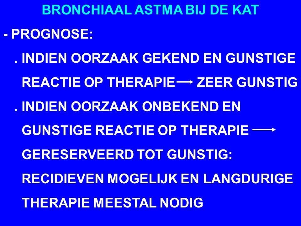 BRONCHIAAL ASTMA BIJ DE KAT - PROGNOSE:.