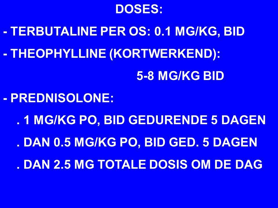 DOSES: - TERBUTALINE PER OS: 0.1 MG/KG, BID - THEOPHYLLINE (KORTWERKEND): 5-8 MG/KG BID - PREDNISOLONE:.