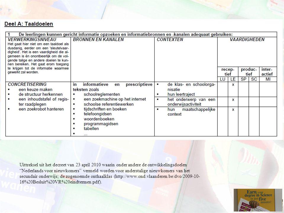 """Uittreksel uit het decreet van 23 april 2010 waarin onder andere de ontwikkelingsdoelen """"Nederlands voor nieuwkomers"""" vermeld worden voor anderstalige"""