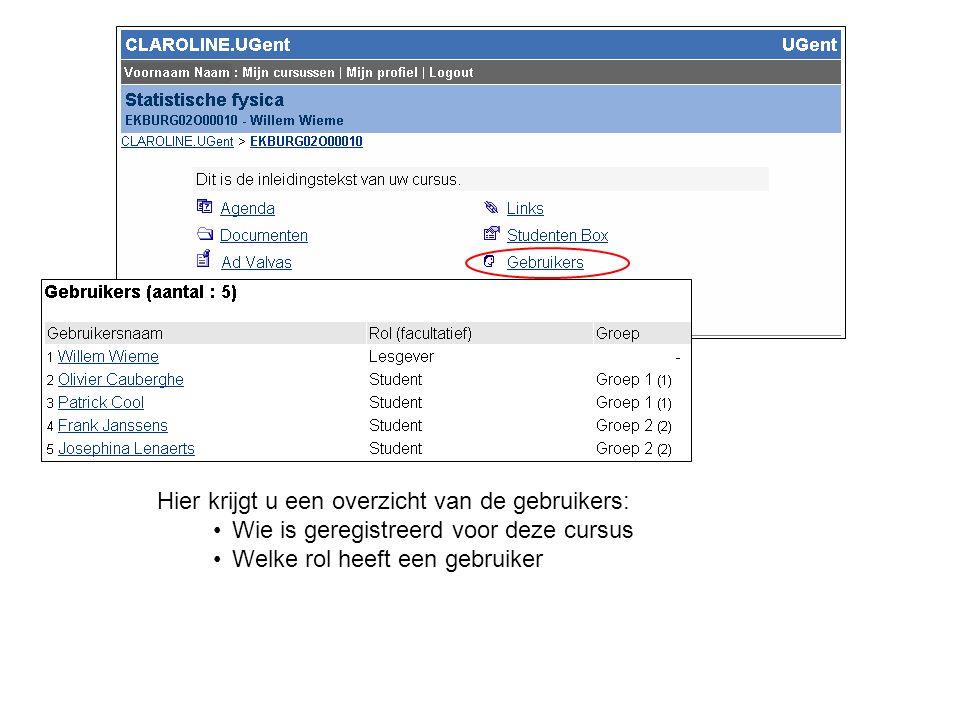 Hier krijgt u een overzicht van de gebruikers: Wie is geregistreerd voor deze cursus Welke rol heeft een gebruiker