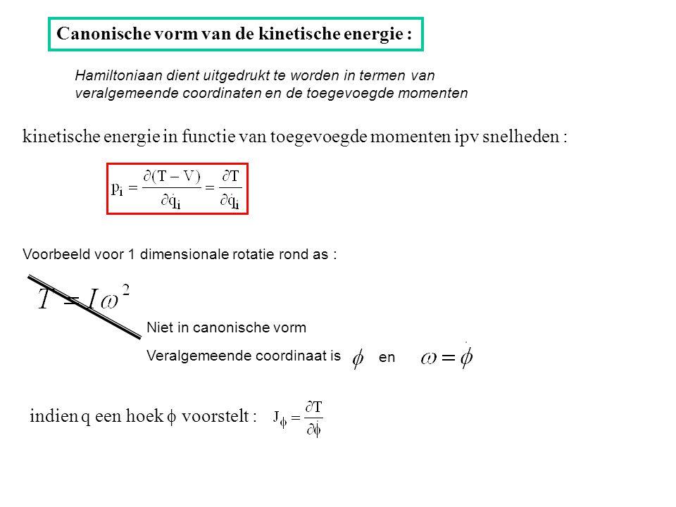 Canonische vorm van de kinetische energie : kinetische energie in functie van toegevoegde momenten ipv snelheden : indien q een hoek  voorstelt : Hamiltoniaan dient uitgedrukt te worden in termen van veralgemeende coordinaten en de toegevoegde momenten Voorbeeld voor 1 dimensionale rotatie rond as : Niet in canonische vorm Veralgemeende coordinaat is en