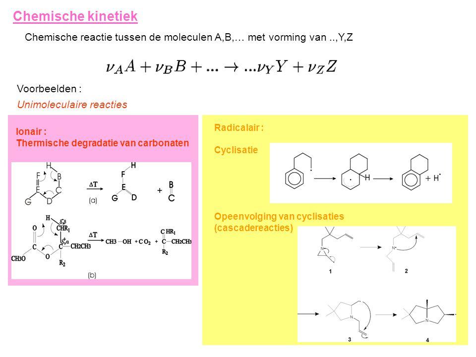 Chemische kinetiek Chemische reactie tussen de moleculen A,B,… met vorming van..,Y,Z Voorbeelden : Unimoleculaire reacties Ionair : Thermische degradatie van carbonaten Radicalair : Cyclisatie Opeenvolging van cyclisaties (cascadereacties)
