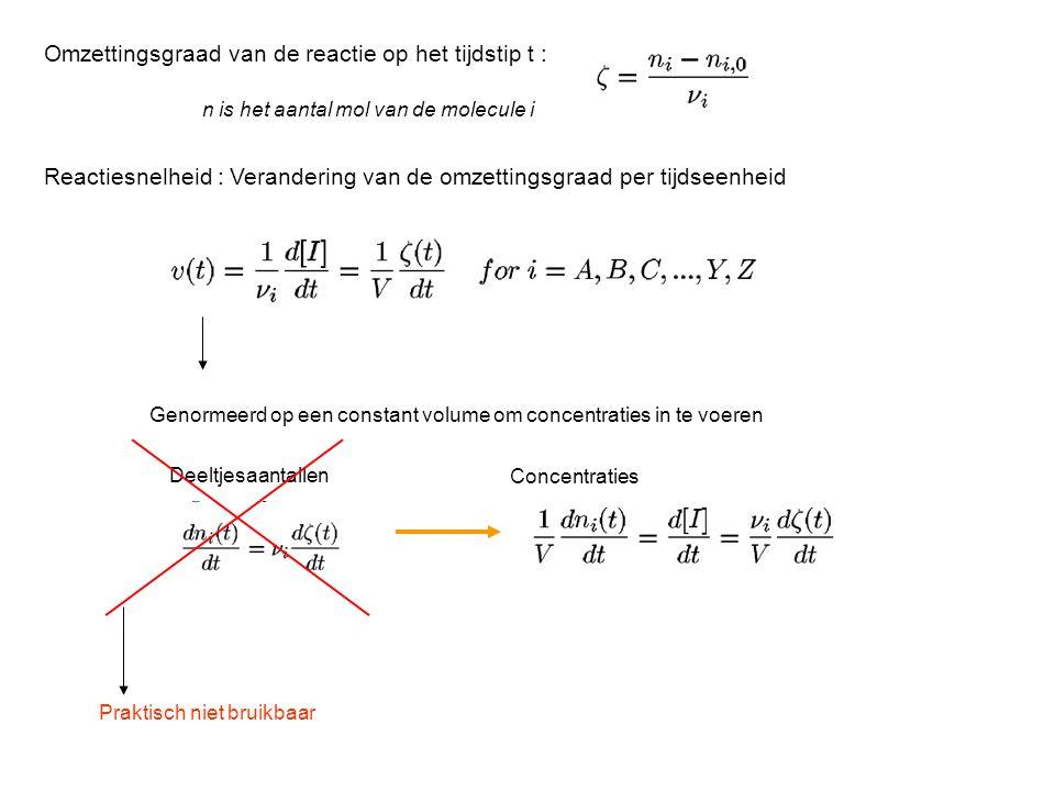 Omzettingsgraad van de reactie op het tijdstip t : n is het aantal mol van de molecule i Reactiesnelheid : Verandering van de omzettingsgraad per tijdseenheid Genormeerd op een constant volume om concentraties in te voeren Deeltjesaantallen Concentraties Praktisch niet bruikbaar