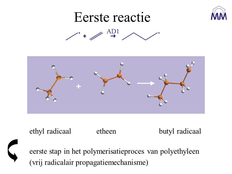 ethyl radicaal etheen butyl radicaal Eerste reactie eerste stap in het polymerisatieproces van polyethyleen (vrij radicalair propagatiemechanisme)