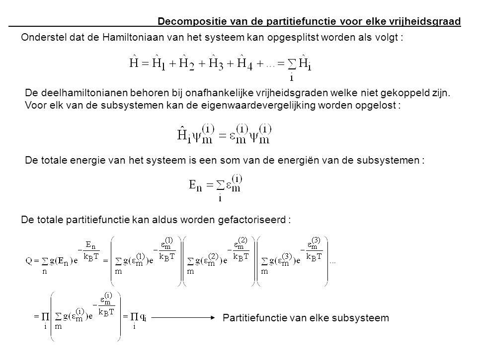 Decompositie van de partitiefunctie voor elke vrijheidsgraad Onderstel dat de Hamiltoniaan van het systeem kan opgesplitst worden als volgt : De deelh