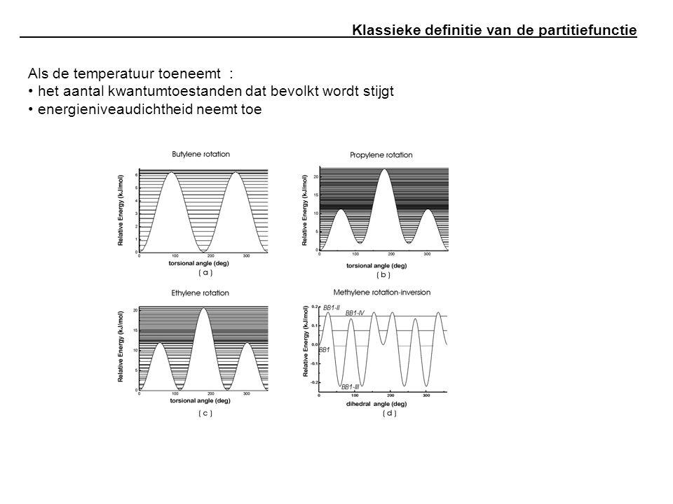 Klassieke definitie van de partitiefunctie Als de temperatuur toeneemt : het aantal kwantumtoestanden dat bevolkt wordt stijgt energieniveaudichtheid neemt toe