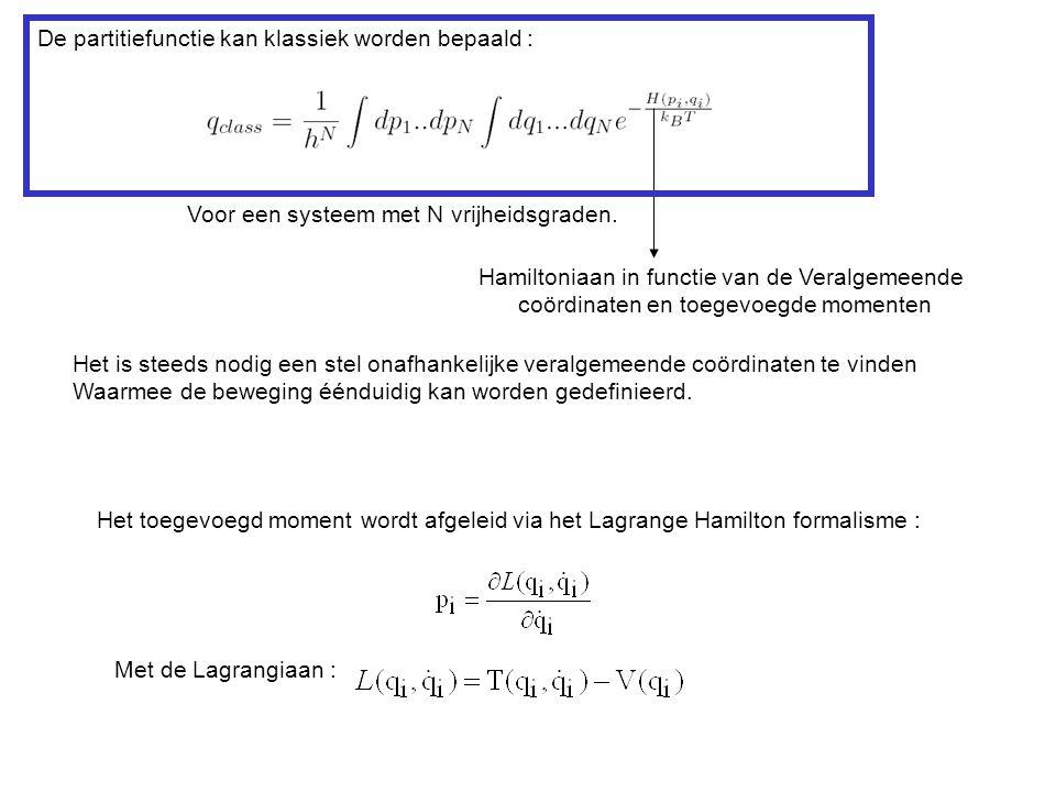 Het toegevoegd moment wordt afgeleid via het Lagrange Hamilton formalisme : Met de Lagrangiaan : De partitiefunctie kan klassiek worden bepaald : Voor