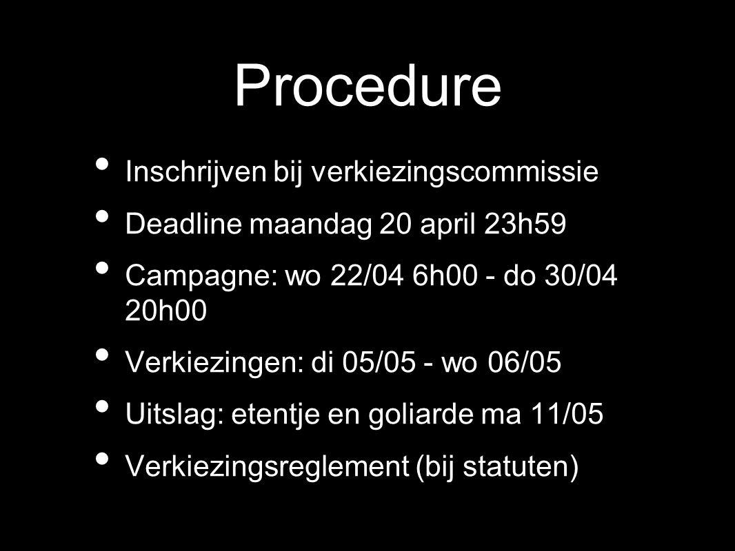 Procedure Inschrijven bij verkiezingscommissie Deadline maandag 20 april 23h59 Campagne: wo 22/04 6h00 - do 30/04 20h00 Verkiezingen: di 05/05 - wo 06/05 Uitslag: etentje en goliarde ma 11/05 Verkiezingsreglement (bij statuten)