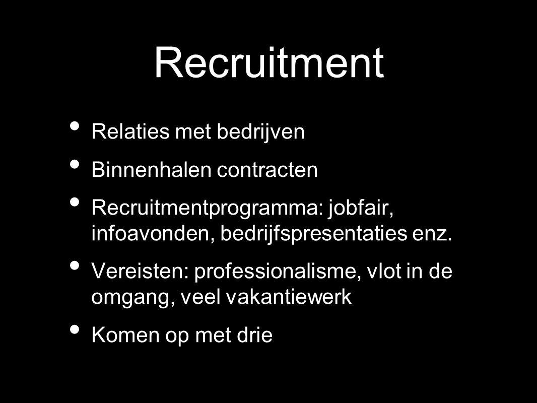 Recruitment Relaties met bedrijven Binnenhalen contracten Recruitmentprogramma: jobfair, infoavonden, bedrijfspresentaties enz. Vereisten: professiona