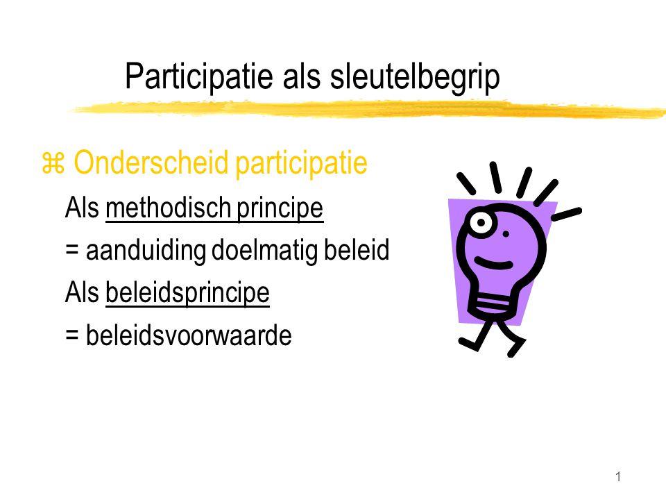 1 Participatie als sleutelbegrip z Onderscheid participatie Als methodisch principe = aanduiding doelmatig beleid Als beleidsprincipe = beleidsvoorwaarde