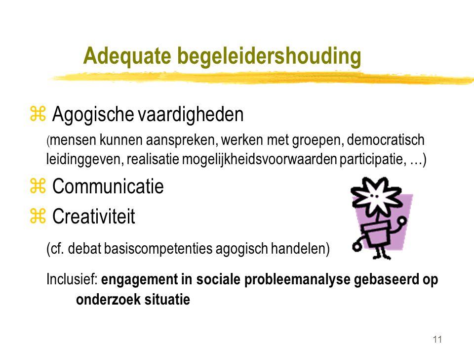 11 Adequate begeleidershouding z Agogische vaardigheden ( mensen kunnen aanspreken, werken met groepen, democratisch leidinggeven, realisatie mogelijkheidsvoorwaarden participatie, …) z Communicatie z Creativiteit (cf.