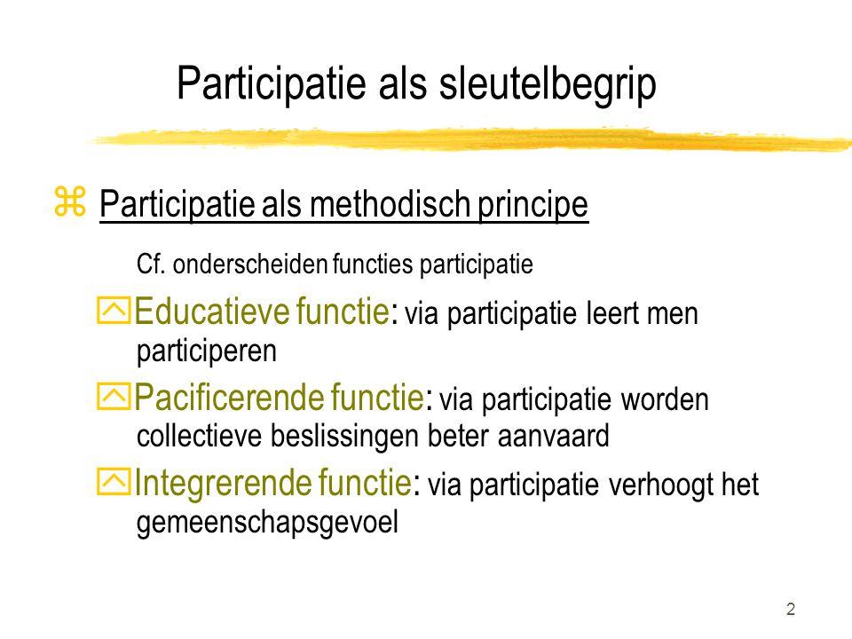 2 Participatie als sleutelbegrip z Participatie als methodisch principe Cf.
