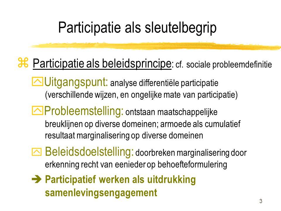 3 Participatie als sleutelbegrip z Participatie als beleidsprincipe : cf.