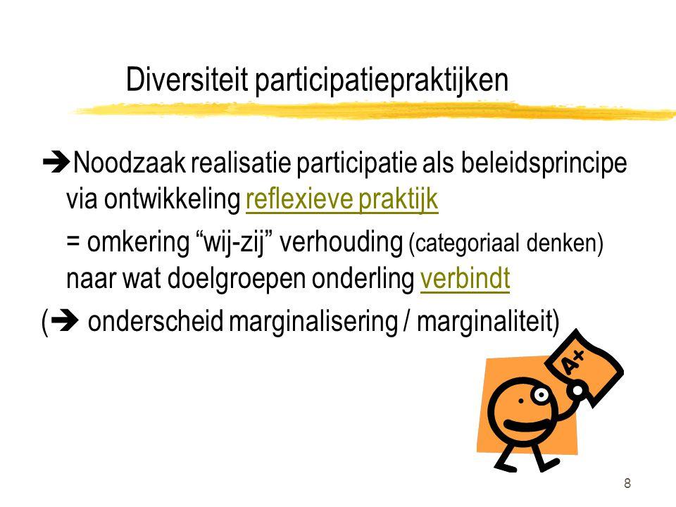 8 Diversiteit participatiepraktijken  Noodzaak realisatie participatie als beleidsprincipe via ontwikkeling reflexieve praktijk = omkering wij-zij verhouding (categoriaal denken) naar wat doelgroepen onderling verbindt (  onderscheid marginalisering / marginaliteit)