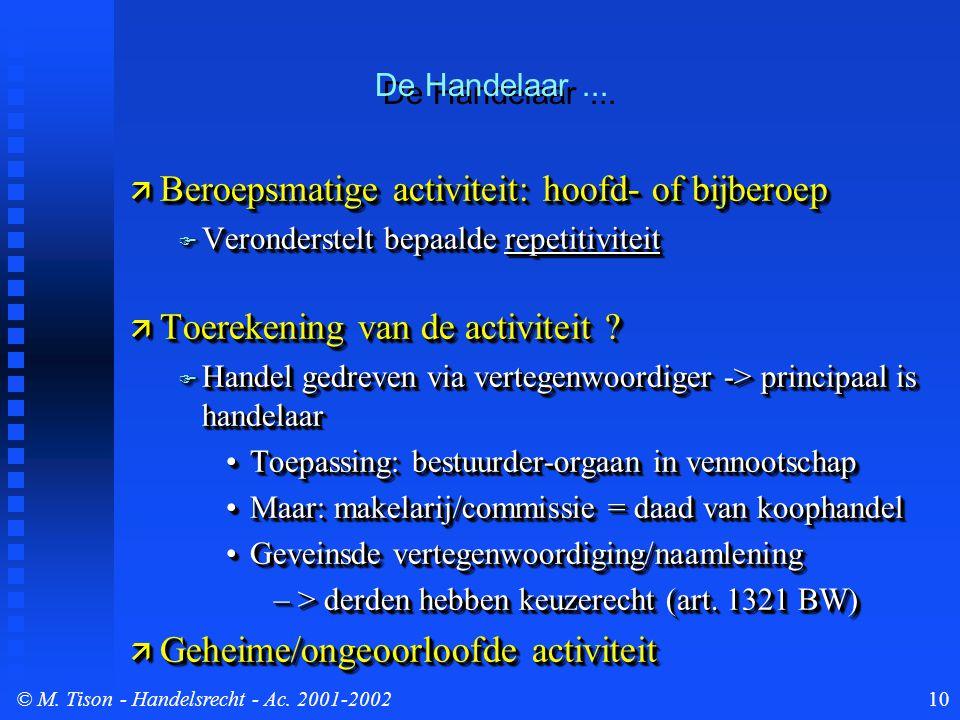 © M. Tison- Handelsrecht - Ac. 2001-200210 De Handelaar...