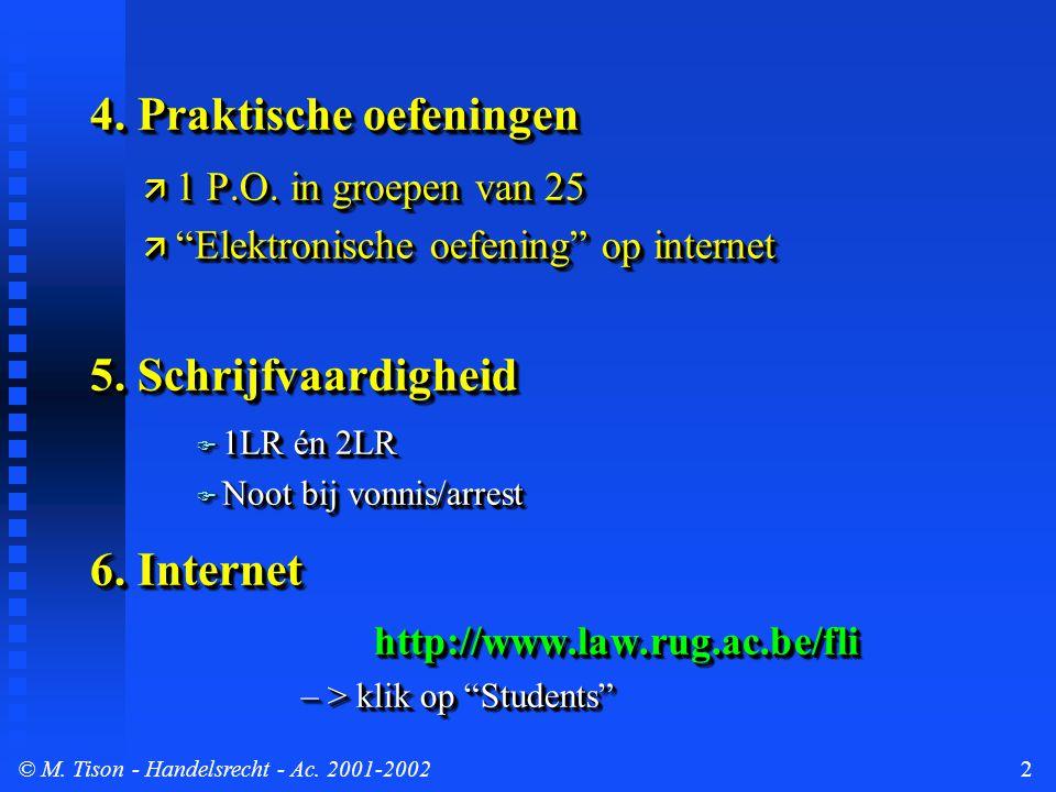 © M. Tison- Handelsrecht - Ac. 2001-20022 4. Praktische oefeningen ä 1 P.O.
