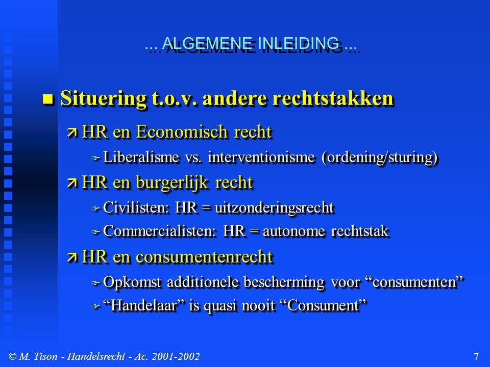 © M. Tison- Handelsrecht - Ac. 2001-20027 n Situering t.o.v.