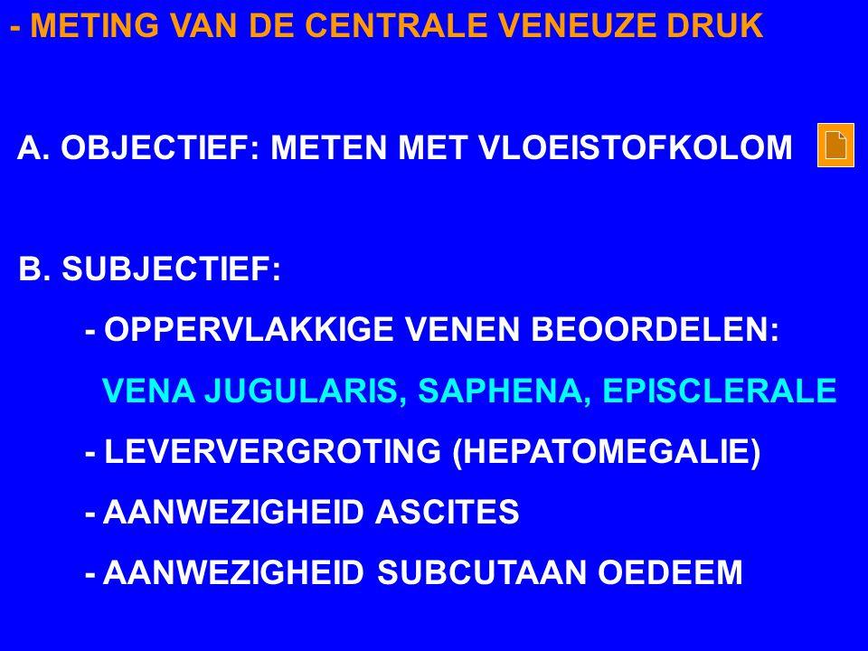 - METING VAN DE CENTRALE VENEUZE DRUK A. OBJECTIEF: METEN MET VLOEISTOFKOLOM B. SUBJECTIEF: - OPPERVLAKKIGE VENEN BEOORDELEN: VENA JUGULARIS, SAPHENA,