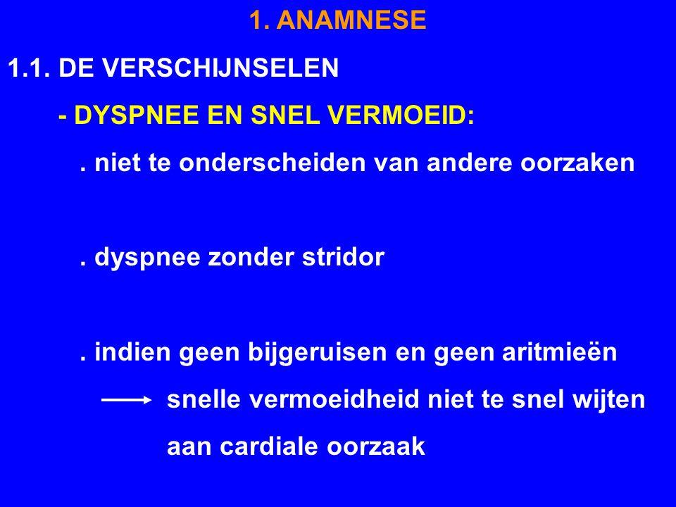 1. ANAMNESE 1.1. DE VERSCHIJNSELEN - DYSPNEE EN SNEL VERMOEID:. niet te onderscheiden van andere oorzaken. dyspnee zonder stridor. indien geen bijgeru