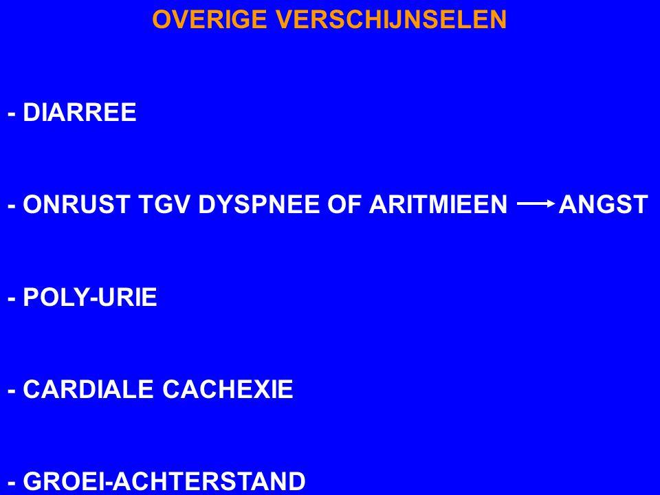 OVERIGE VERSCHIJNSELEN - DIARREE - ONRUST TGV DYSPNEE OF ARITMIEEN ANGST - POLY-URIE - CARDIALE CACHEXIE - GROEI-ACHTERSTAND