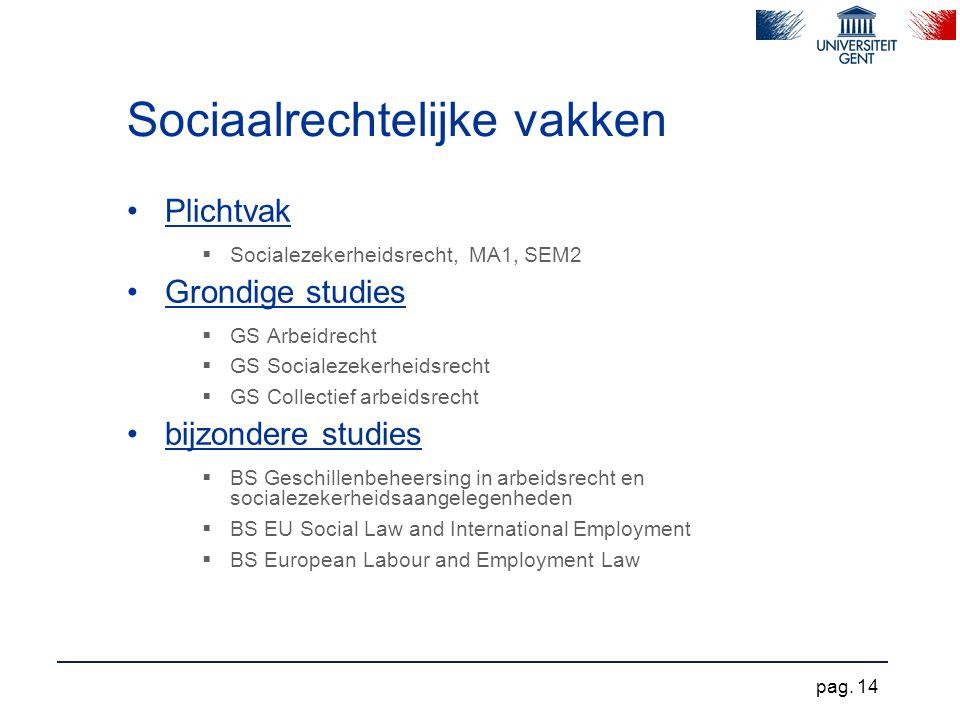Sociaalrechtelijke vakken Plichtvak  Socialezekerheidsrecht, MA1, SEM2 Grondige studies  GS Arbeidrecht  GS Socialezekerheidsrecht  GS Collectief