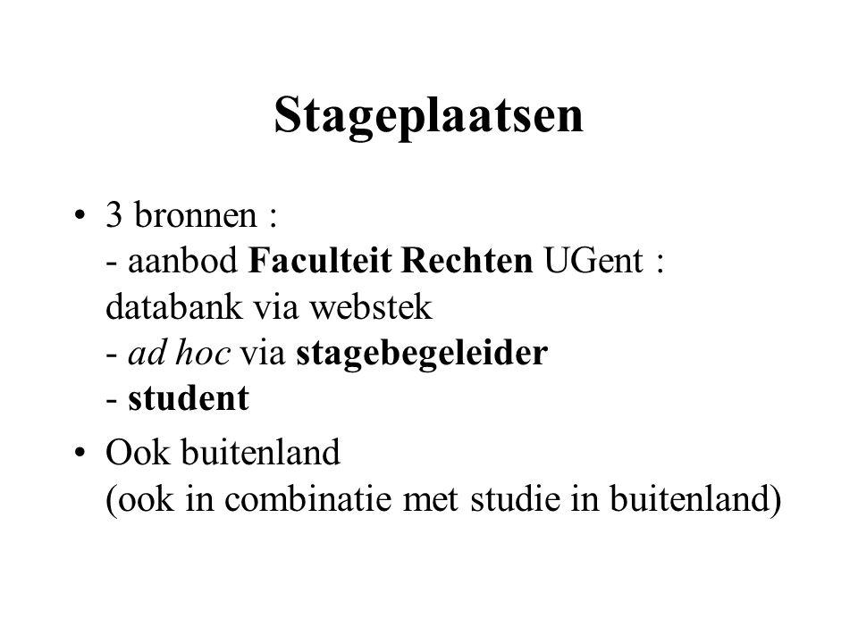Stageplaatsen 3 bronnen : - aanbod Faculteit Rechten UGent : databank via webstek - ad hoc via stagebegeleider - student Ook buitenland (ook in combinatie met studie in buitenland)