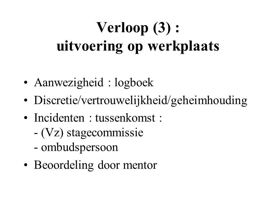 Verloop (3) : uitvoering op werkplaats Aanwezigheid : logboek Discretie/vertrouwelijkheid/geheimhouding Incidenten : tussenkomst : - (Vz) stagecommissie - ombudspersoon Beoordeling door mentor