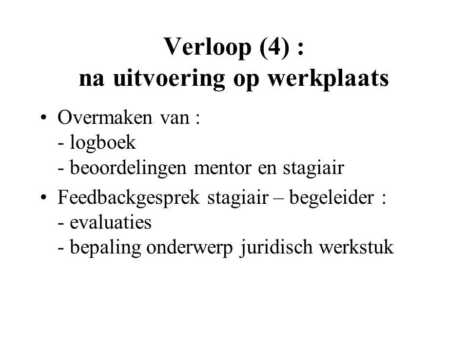 Verloop (4) : na uitvoering op werkplaats Overmaken van : - logboek - beoordelingen mentor en stagiair Feedbackgesprek stagiair – begeleider : - evaluaties - bepaling onderwerp juridisch werkstuk