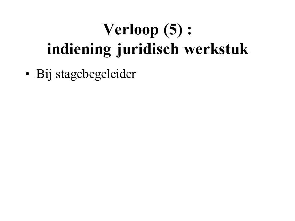 Verloop (5) : indiening juridisch werkstuk Bij stagebegeleider