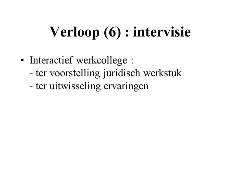 Verloop (6) : intervisie Interactief werkcollege : - ter voorstelling juridisch werkstuk - ter uitwisseling ervaringen